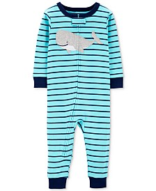 Carter's Baby Boys 1-Pc. Striped Whale Cotton Pajamas