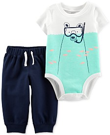 Carter's Baby Boys 2-Pc. Snorkel Bear Cotton Graphic & Sweat Pants Set