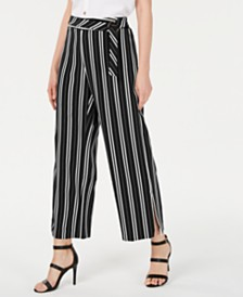 NY Collection Petite Striped Belted Pants