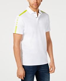 DKNY Men's Stripe-Sleeve Logo Graphic Polo Shirt