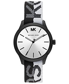 Women's Runway Black & White Nylon Strap Watch 38mm