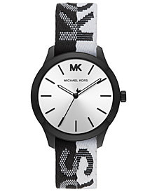 Michael Kors Women's Runway Black & White Nylon Strap Watch 38mm