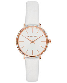 Michael Kors Women's Mini Pyper White Leather Strap Watch 32mm
