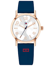 Tommy Hilfiger Women's Communion Navy Silicone Strap Watch 34mm Created for Macy's