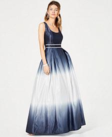 Teeze Me Juniors' Rhinestone Dip-Dyed Gown