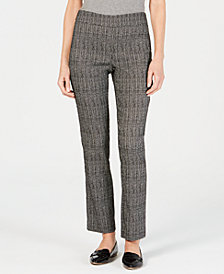 JM Collection Petite Tummy-Control Jacquard Pants, Created for Macy's