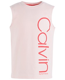 Calvin Klein Performance Big Girls Logo-Print Cotton Tank Top