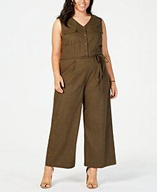 Monteau Trendy Plus Size Button-Front Jumpsuit