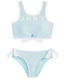 DKNY Big Girls 2-Pc. Logo Sunsuit Bikini