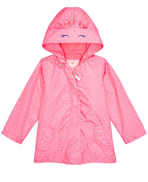 Carter's Toddler & Little Girls Hooded Dot-Print Unicorn Rain Jacket