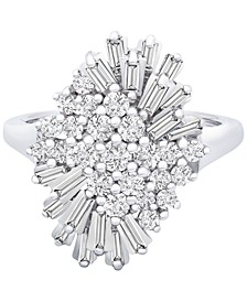 Diamond (1 ct. t.w.) Starburst Statement Ring in 14k White Gold, Created for Macy's