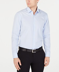 HUGO Men's Slim-Fit Blue & White Micro Check Dress Shirt