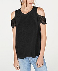 INC Lace Linen-Blend Cold-Shoulder Top, Created for Macy's