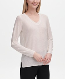 Calvin Klein V-Neck Gold-Tone Fleck Sweater