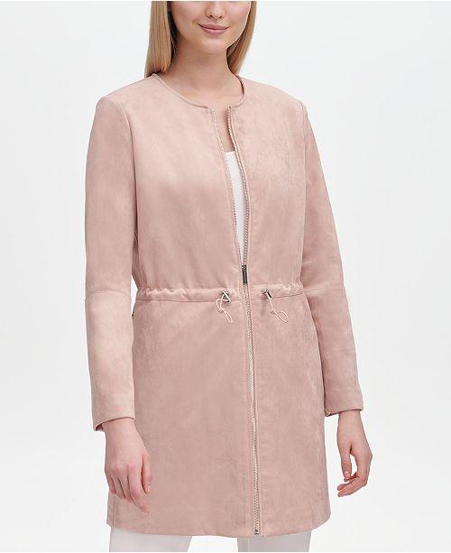 Calvin Klein Faux Suede Collarless Jacket