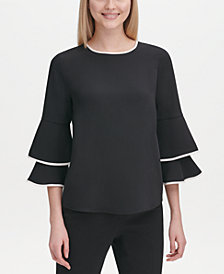 Calvin Klein Contrast-Trim Bell-Sleeve Blouse