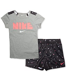 95776d5bf84a Nike Toddler Girls 2-Pc. Logo-Print T-Shirt   Printed Shorts