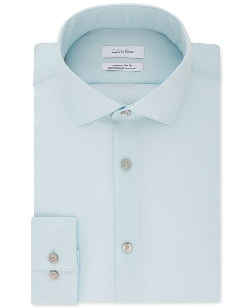 Calvin Klein Calvin Klein X Men's STEEL Extra-Slim Fit Non-Iron Performance Herringbone Dress Shirt