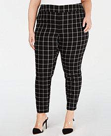 I.N.C. Plus Size Windowpane-Print Skinny Pants, Created for Macy's