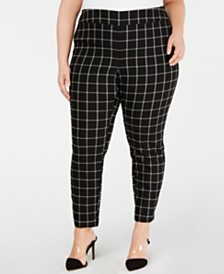 I.N.C. Plus Size Windowpane-Print Skinny Pants, Created for Macy's