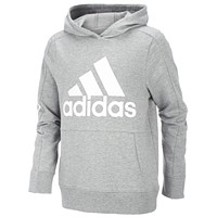 adidas Big Boys Logo-Print Cotton Hoodie (Grey Heather)