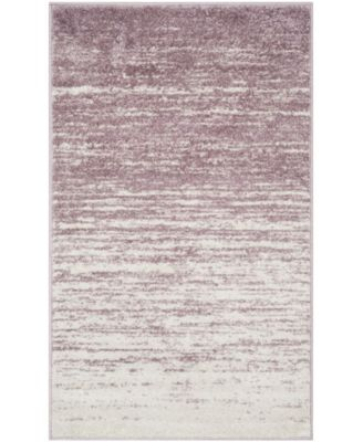 Adirondack Cream and Purple 6' x 6' Square Area Rug