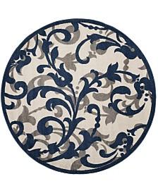 Safavieh Amherst Ivory and Navy 7' x 7' Round Area Rug