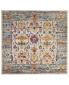 Crystal Cream and Teal 7' x 7' Square Area Rug