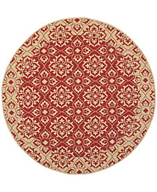 """Safavieh Courtyard Red and Creme 5'3"""" x 5'3"""" Sisal Weave Round Area Rug"""