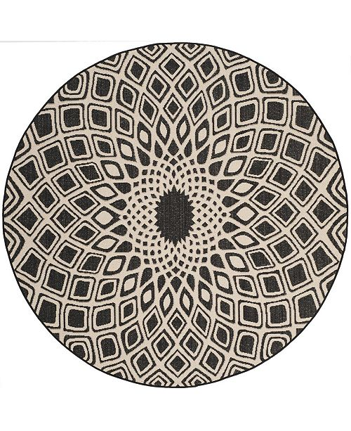 "Safavieh Courtyard Black and Beige 6'7"" x 6'7"" Sisal Weave Round Area Rug"