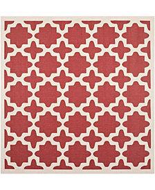 "Safavieh Courtyard Red and Bone 7'10"" x 7'10"" Sisal Weave Square Area Rug"