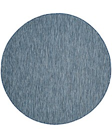 """Courtyard Navy and Gray 6'7"""" x 6'7"""" Sisal Weave Round Area Rug"""