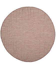 "Safavieh Courtyard Rust and Light Gray 6'7"" x 6'7"" Sisal Weave Round Area Rug"