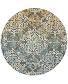 "Safavieh Evoke Gray and Ivory 6'7"" x 6'7"" Round Area Rug"