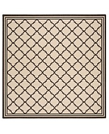 "Linden Creme and Brown 6'7"" x 6'7"" Square Area Rug"