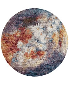 "Gypsy Rust and Ivory 6'7"" x 6'7"" Round Area Rug"