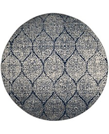 """Madison Navy and Silver 6'7"""" x 6'7"""" Round Area Rug"""