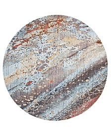Monray Red and Multi 7' x 7' Round Area Rug