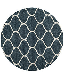 Safavieh Hudson Slate Blue and Ivory 7' x 7' Round Area Rug