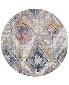 Safavieh Bristol Lavender and Light Gray 7' x 7' Round Area Rug