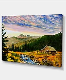 """Designart Sunset In Mountains Landscape Art Wall Art Print - 32"""" X 16"""""""