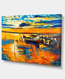 "Designart Boat And Jetty At Sunset Landscape Art Print Canvas - 32"" X 16"""