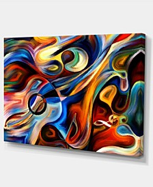 "Designart Abstract Music And Rhythm Abstract Canvas Art Print - 32"" X 16"""