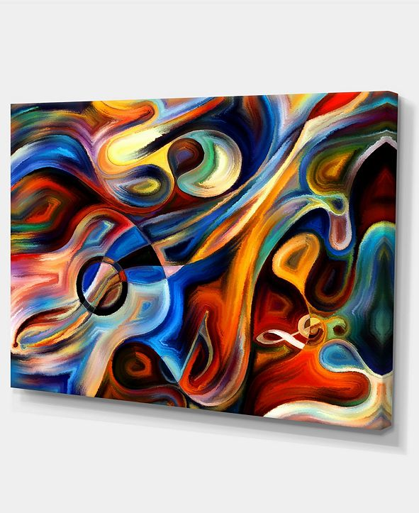 "Design Art Designart Abstract Music And Rhythm Abstract Canvas Art Print - 32"" X 16"""