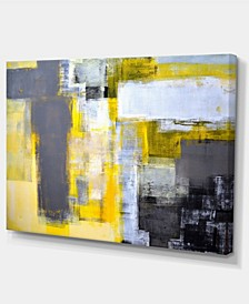"""Designart Grey And Yellow Blur Abstract Abstract Canvas Art Print - 32"""" X 16"""""""
