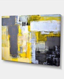 "Designart Grey And Yellow Blur Abstract Abstract Canvas Art Print - 32"" X 16"""