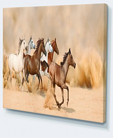"Designart Herd Gallops In Sand Storm Photography Canvas Art Print - 40"" X 30"""