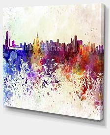 "Designart Chicago Skyline Cityscape Canvas Art Print - 40"" X 30"""