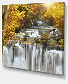 "Designart Autumn Huai Mae Kamin Waterfall Abstract Canvas Artwork - 40"" X 30"""