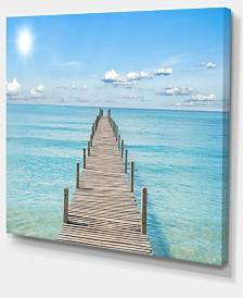 "Designart Pier Infinite To The Sea Seascape Canvas Art Print - 40"" X 30"""